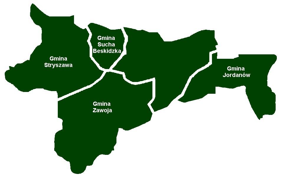 mapka poglądowa obszaru gmin zrzeszonych w ZGDGS- Świnna Poręba